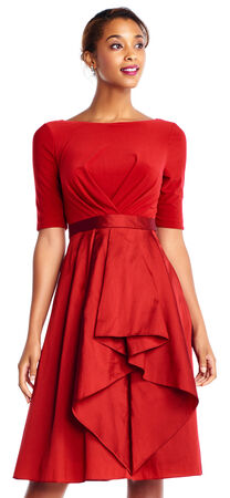 Taffeta Midi Dress with Elbow Sleeves and Draped Jersey
