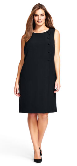Scalloped Side Button Shift Dress