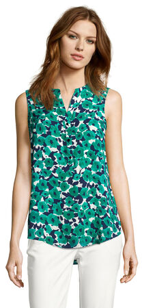 Sleeveless Printed Top with Button Down Front