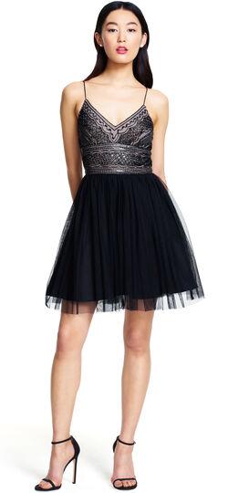Sleeveless Beaded Bodice Party Dress