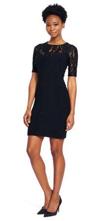Illusion Neckline Banded Sheath Dress