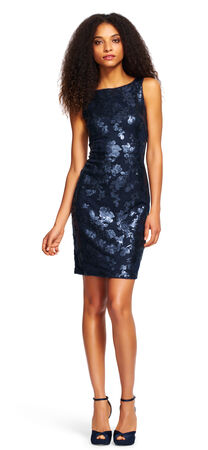 Fitted Floral Sequin Sheath Dress