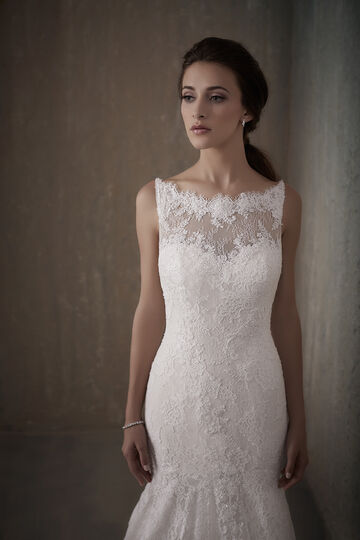 Backless Chantilly Lace Wedding Dress with Illusion Neckline - 31013