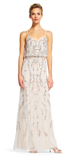1930s Style Wedding Dresses Floral Beaded Blouson Dress $349.00 AT vintagedancer.com