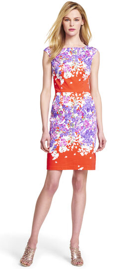 Multi Floral Cotton Sheath Dress
