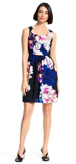 Rose Printed Fit and Flare Dress