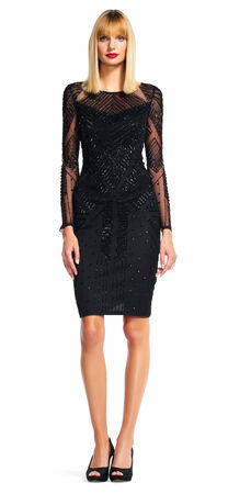Geometric Beaded Cocktail Dress with Sheer Long Sleeves