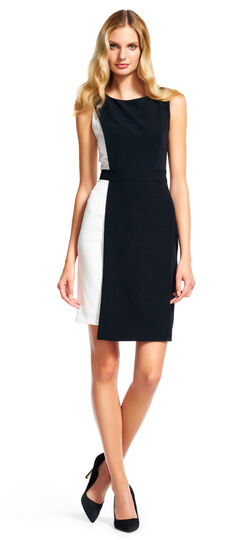 Colorblock Asymmetrical Sheath Dress $140.00 AT vintagedancer.com