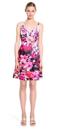 Printed Mikado Fit and Flare Dress