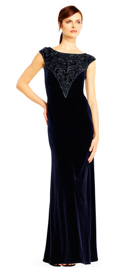 Downton Abbey Inspired Dresses Velvet Column Gown with Filigree Embroidered Neckline $440.00 AT vintagedancer.com