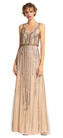 Sleeveless Blouson Gown with Art Nouveau Beading