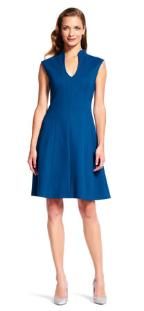 Split V-Mock Neck Fit and Flare Dress