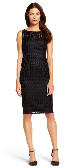 Grid Lace Sheath Dress