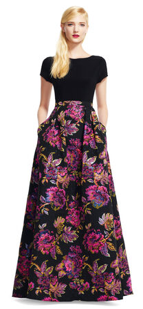 Short Sleeve Dress with Floral Ball Gown Skirt