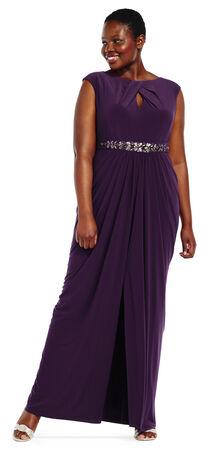 Draped Jersey Dress with Embellished Waist and Keyhole