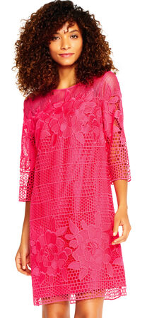 Havana Gardens Lace Shift Dress with Sheer Three Quarter Sleeves