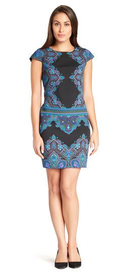 Print Crepe Shift Dress