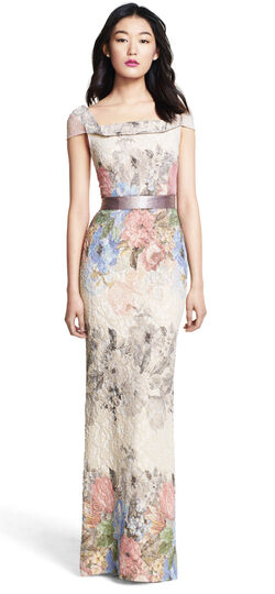 Draped Neck Mermaid Floral Jacquard Gown