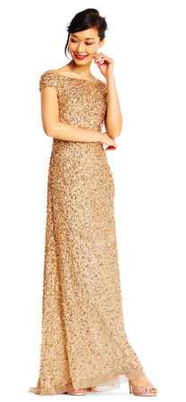 Off the Shoulder Sequin Beaded Gown