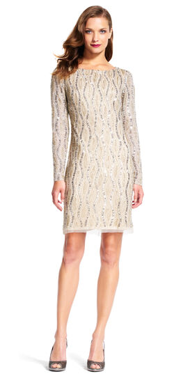 Long Sleeve Shift Dress with All Over Wavy Beading
