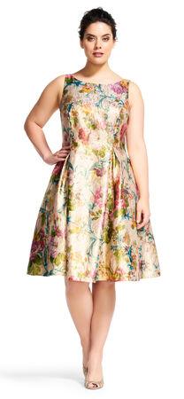 Floral Vine Midi Dress with Deep V-Back