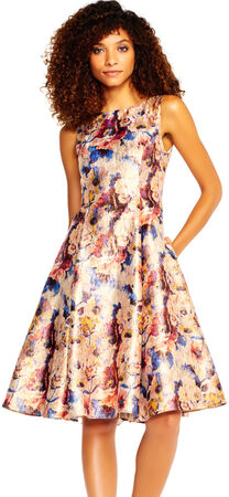 Metallic Floral Jacquard Dress with V-Back