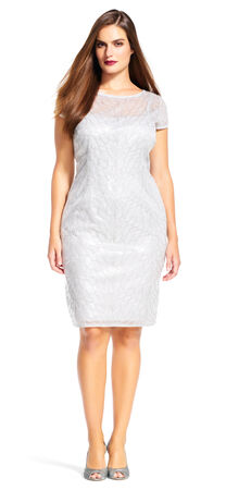 Short Sleeve Sequin Sheath Dress with Illusion Neck