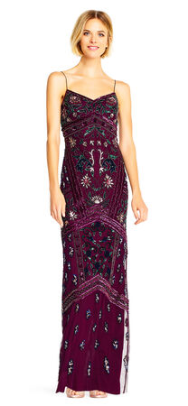 Sequin Beaded Embroidered Column Gown with Spaghetti Straps