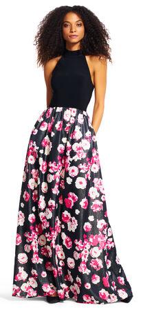 Mock Neck Halter Gown with Shimmer Floral Skirt