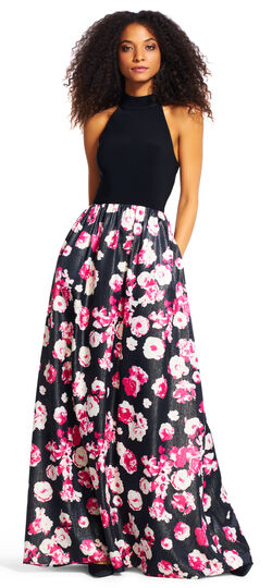 Mock Neck Halter Gown with Shimmer Floral Skirt