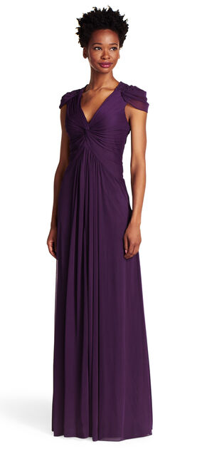Cap Sleeve Draped Tulle Gown $108.00 AT vintagedancer.com