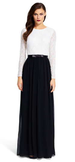 Long Sleeve Beaded Ball Gown