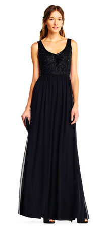 Sequin Beaded Chiffon Dress with Deep V-Back