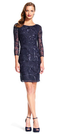 Floral Sequin Beaded Cocktail Dress with Three Quarter Sleeves