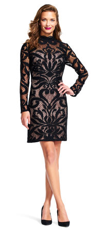 Mock Neck Lace Dress with Sheer Long Sleeves