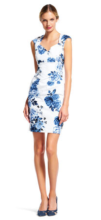Rose Print Sheath Dress with Origami Neckline