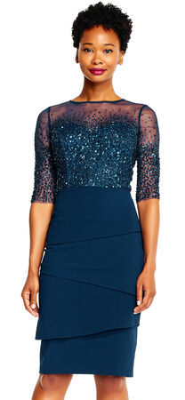 Beaded Illusion Sheath Dress with Three quarter sleeves