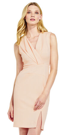 Sleeveless Crepe Dress with Pleated V-Neck