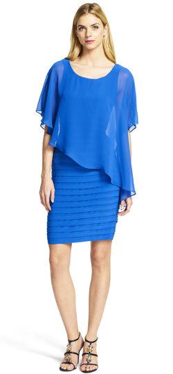 Chiffon Overlay Shutter Pleat Sheath Dress