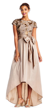 High Low Ball Gown with Short Sleeve Floral Jacquard Bodice
