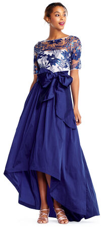 Three Quarter Sleeve High Low Gown with Floral Lace Bodice