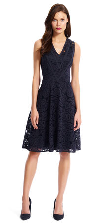 Lace Fit & Flare Dress with Chevron Detail