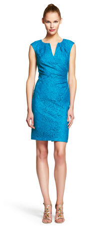 Pleated Lace Sheath Dress