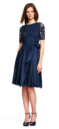 Cap Sleeve Lace Bodice Fit and Flare Dress