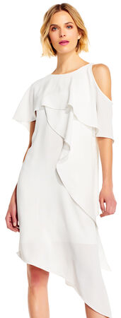 Draped Asymmetrical Flutter Dress with Cold Shoulder Sleeve