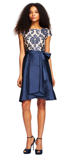 Embroidered Taffeta High Low Dress