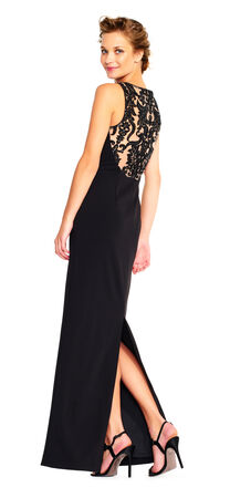 Crepe Column Gown with Cowl Neck and Sheer Lace Back