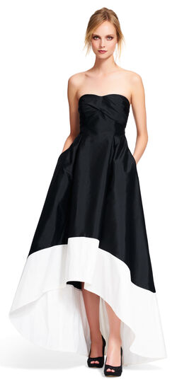 Strapless Colorblock High Low Ball Gown