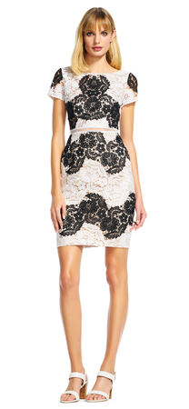 Short Sleeve Floral Lace Sheath Dress with Sheer Waist