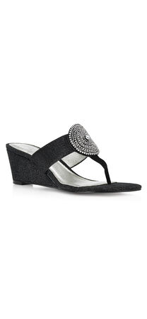 Casey Metallic wedge with medallion